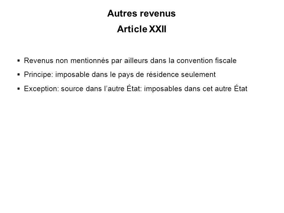 Autres revenus Article XXII