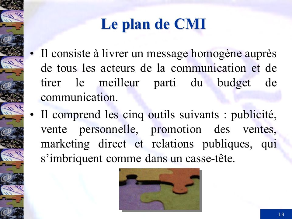 Le plan de CMI