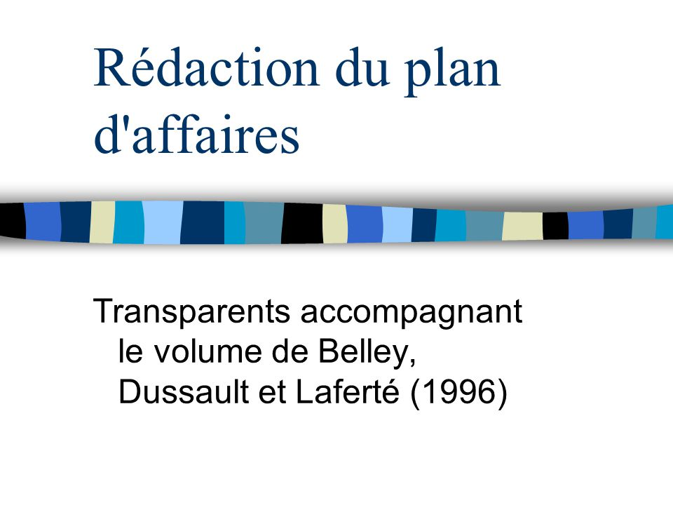 Rédaction du plan d affaires