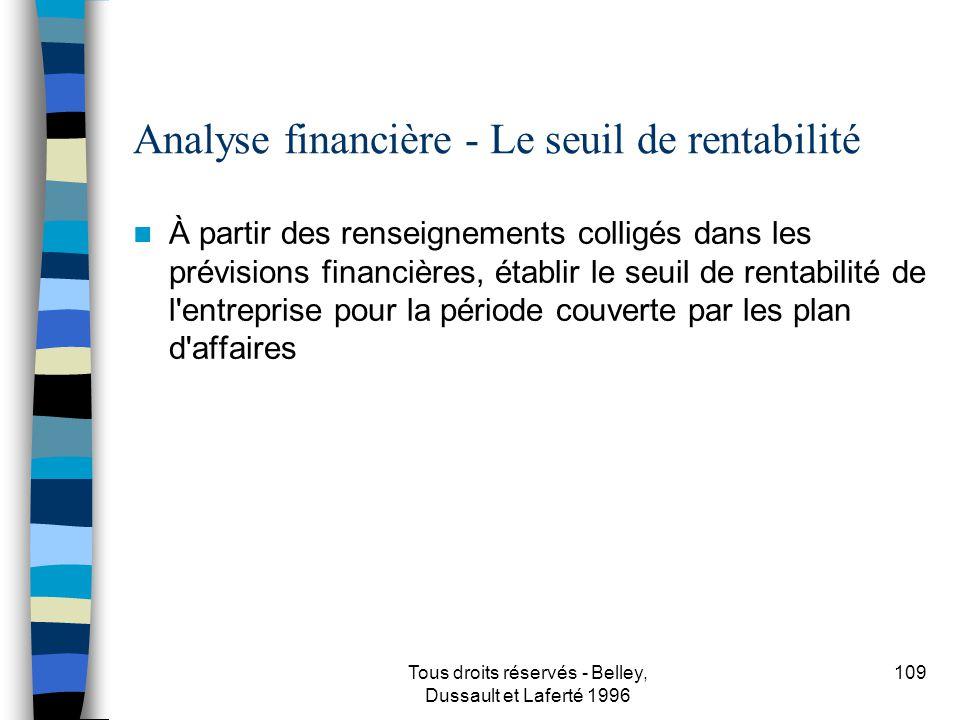 Analyse financière - Le seuil de rentabilité