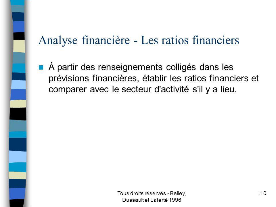 Analyse financière - Les ratios financiers