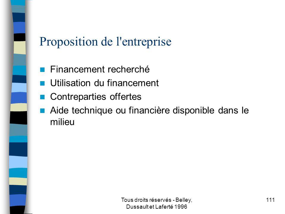 Proposition de l entreprise