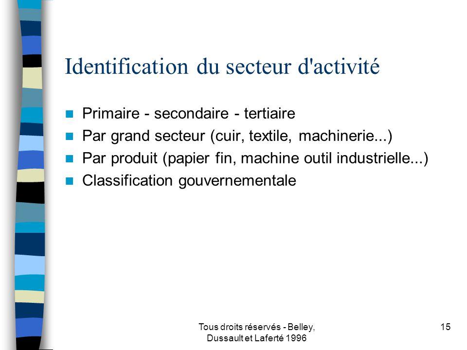 Identification du secteur d activité