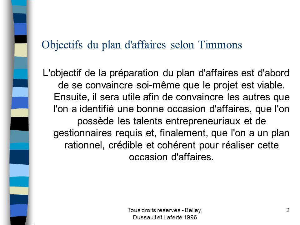 Objectifs du plan d affaires selon Timmons