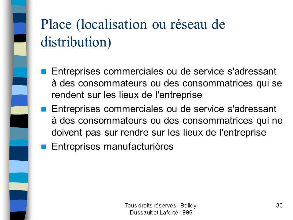 Place (localisation ou réseau de distribution)