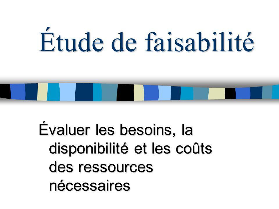 Étude de faisabilité Évaluer les besoins, la disponibilité et les coûts des ressources nécessaires