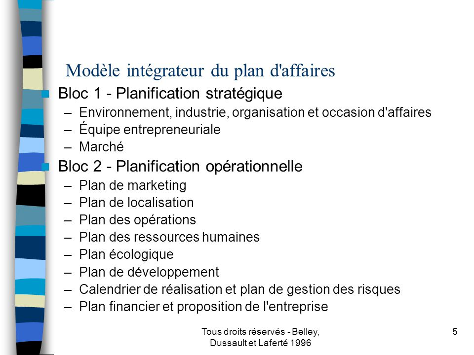 R daction du plan d 39 affaires ppt t l charger for Plan de belley