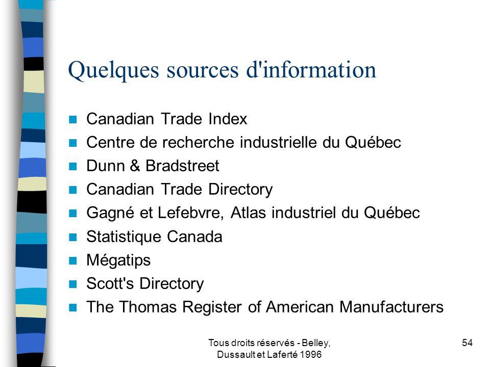 Quelques sources d information