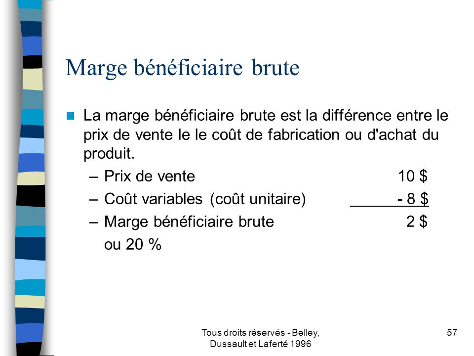 Marge bénéficiaire brute