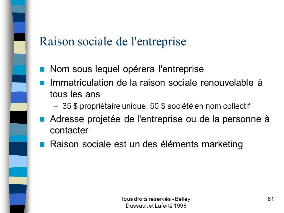 Raison sociale de l entreprise