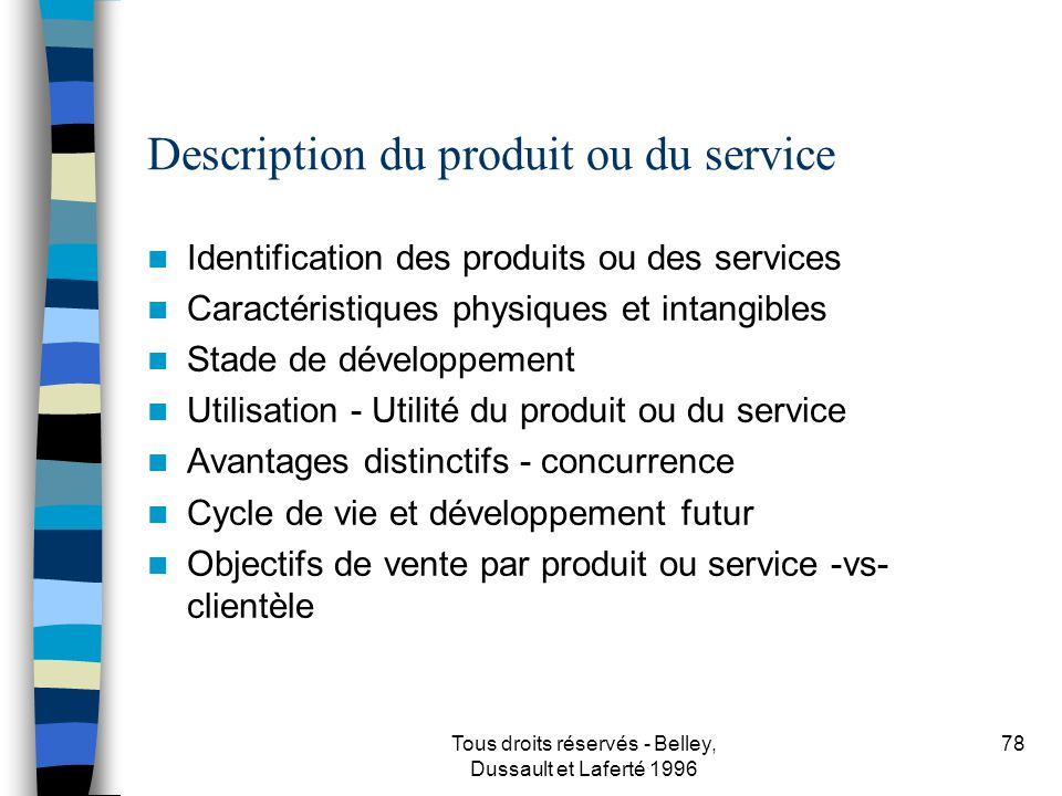 Description du produit ou du service