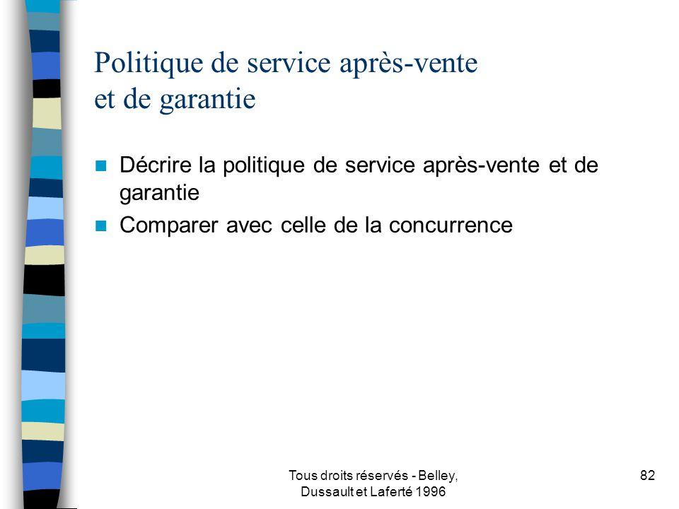 Politique de service après-vente et de garantie