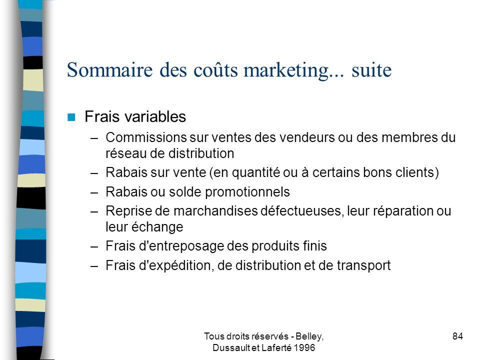 Sommaire des coûts marketing... suite