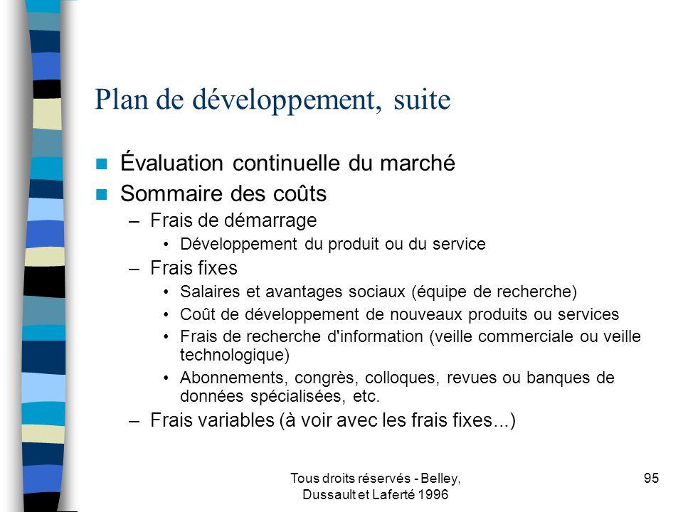 Plan de développement, suite