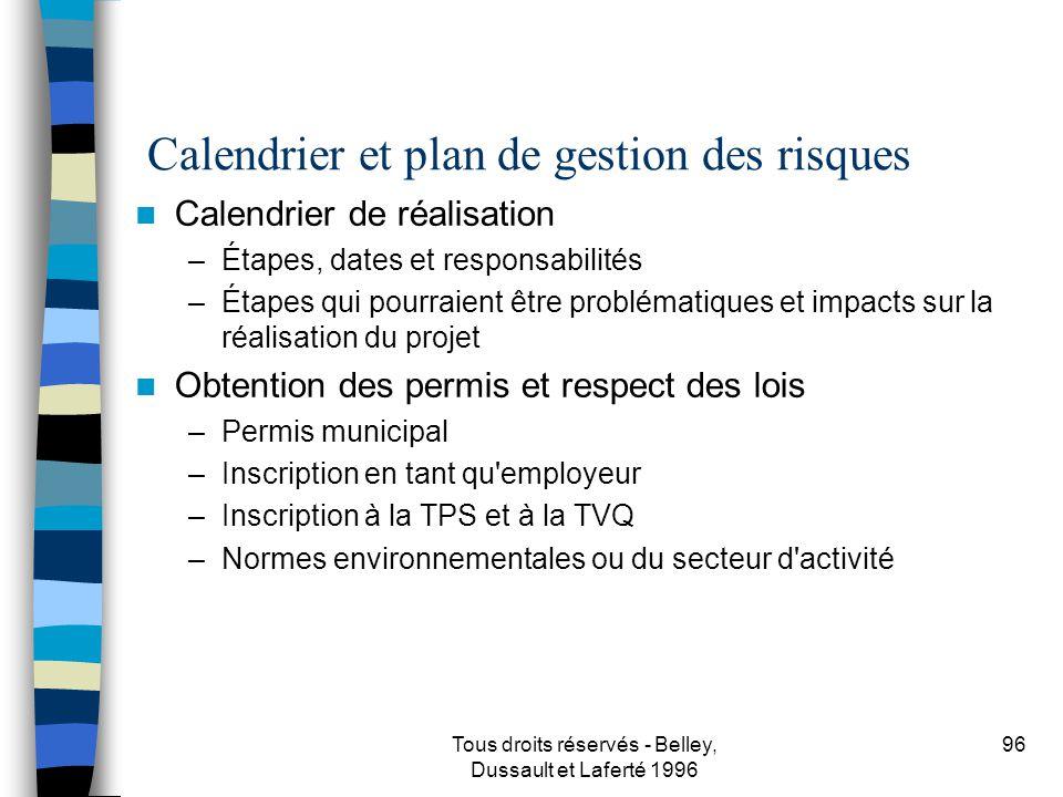 Calendrier et plan de gestion des risques