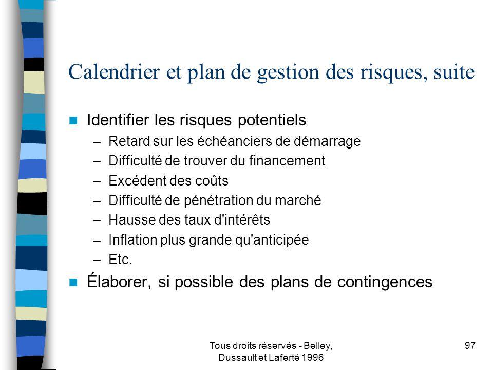 Calendrier et plan de gestion des risques, suite