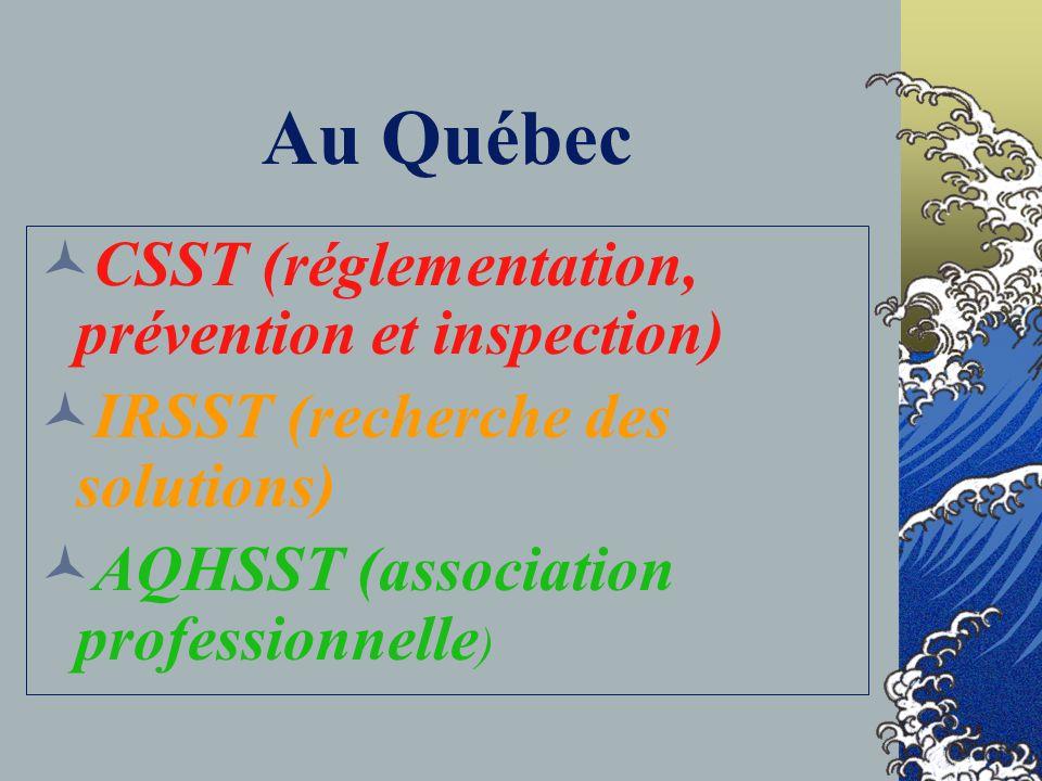 Au Québec CSST (réglementation, prévention et inspection)