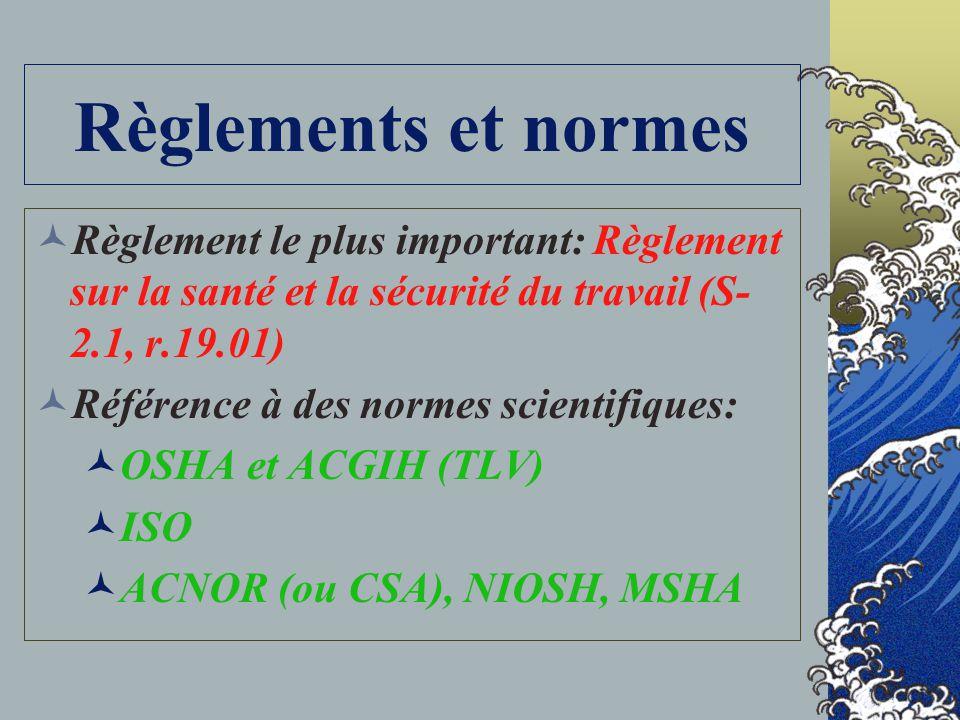Règlements et normes Règlement le plus important: Règlement sur la santé et la sécurité du travail (S-2.1, r.19.01)