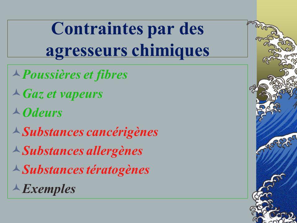 Contraintes par des agresseurs chimiques
