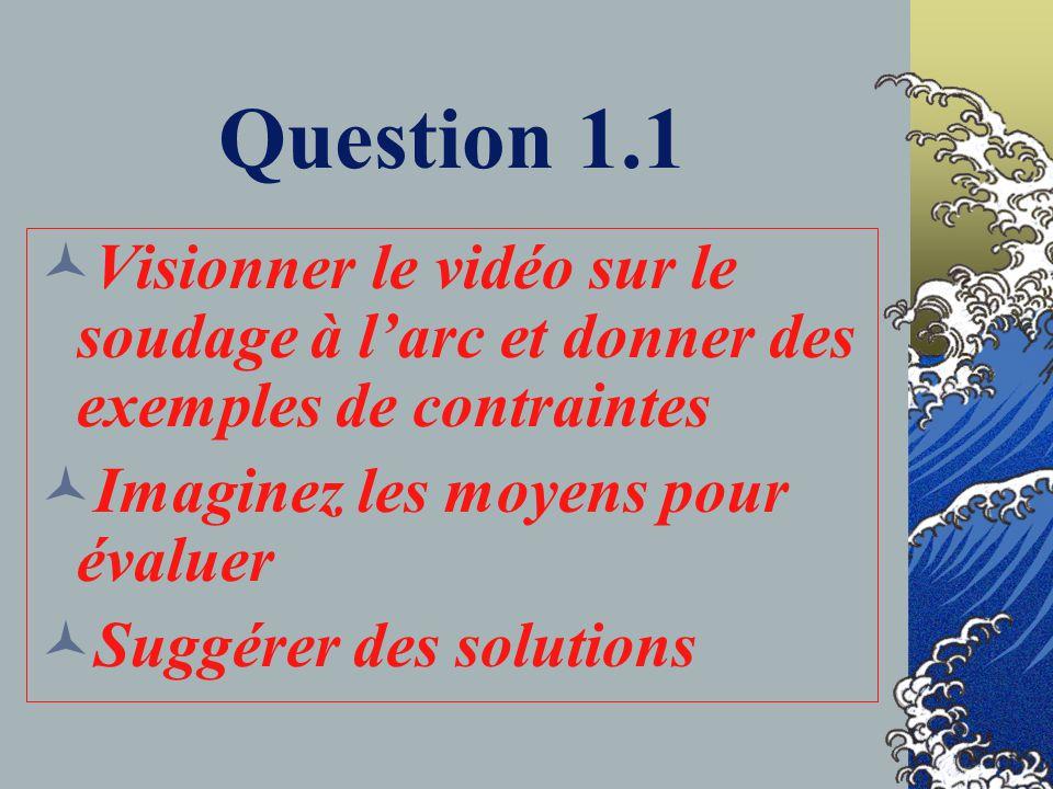 Question 1.1 Visionner le vidéo sur le soudage à l'arc et donner des exemples de contraintes. Imaginez les moyens pour évaluer.