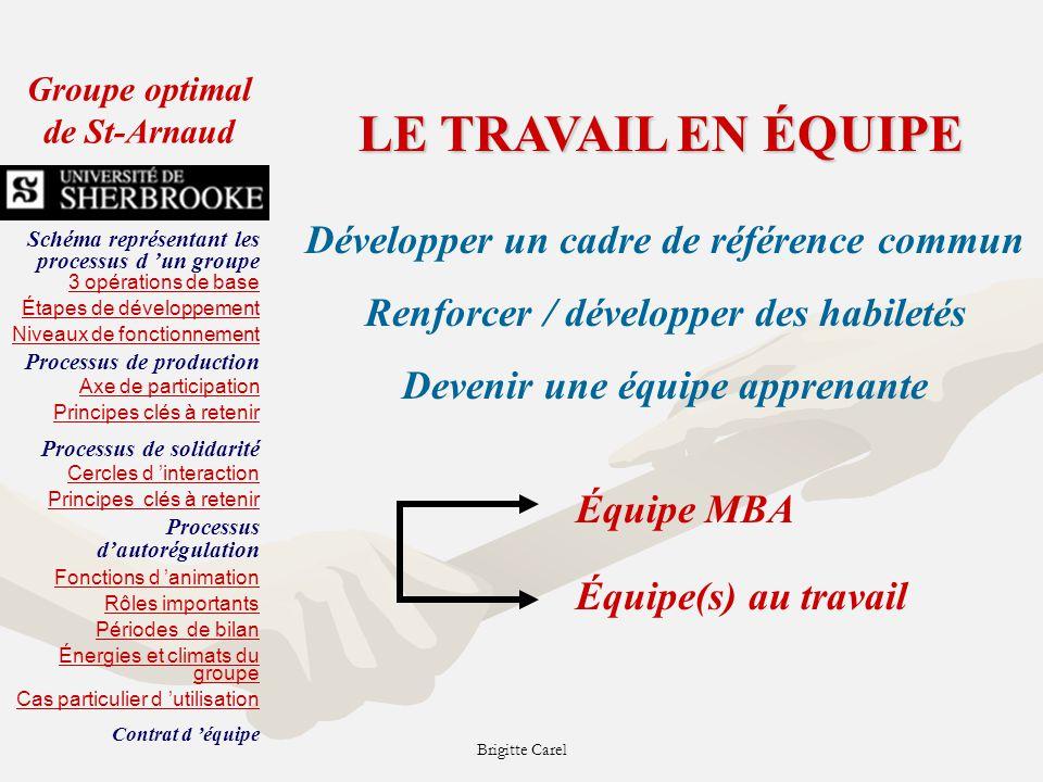 LE TRAVAIL EN ÉQUIPE Développer un cadre de référence commun