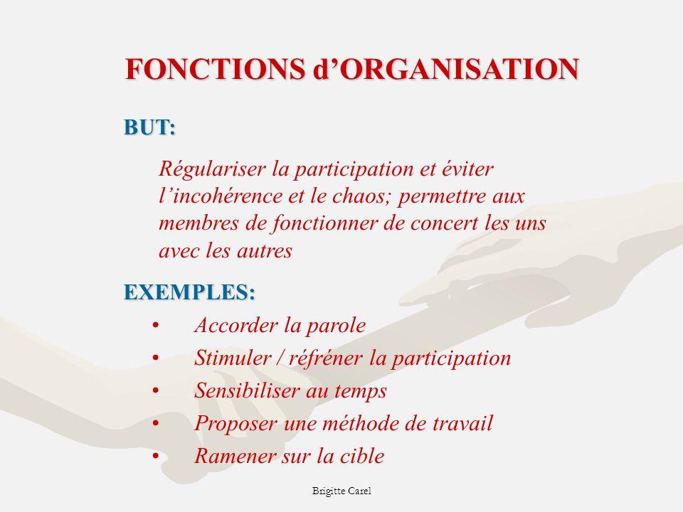 FONCTIONS d'ORGANISATION