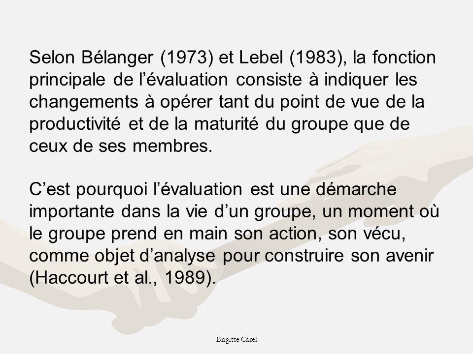 Selon Bélanger (1973) et Lebel (1983), la fonction principale de l'évaluation consiste à indiquer les changements à opérer tant du point de vue de la productivité et de la maturité du groupe que de ceux de ses membres.