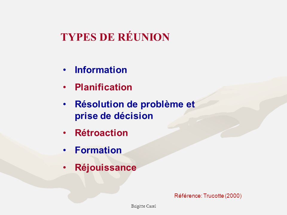 TYPES DE RÉUNION Information Planification