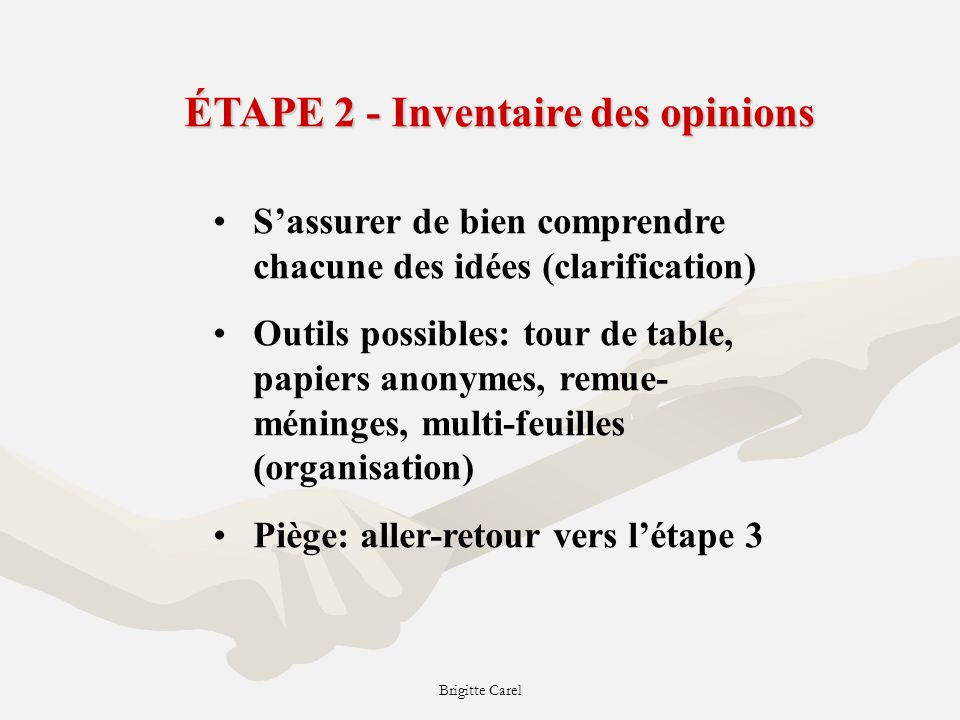 ÉTAPE 2 - Inventaire des opinions