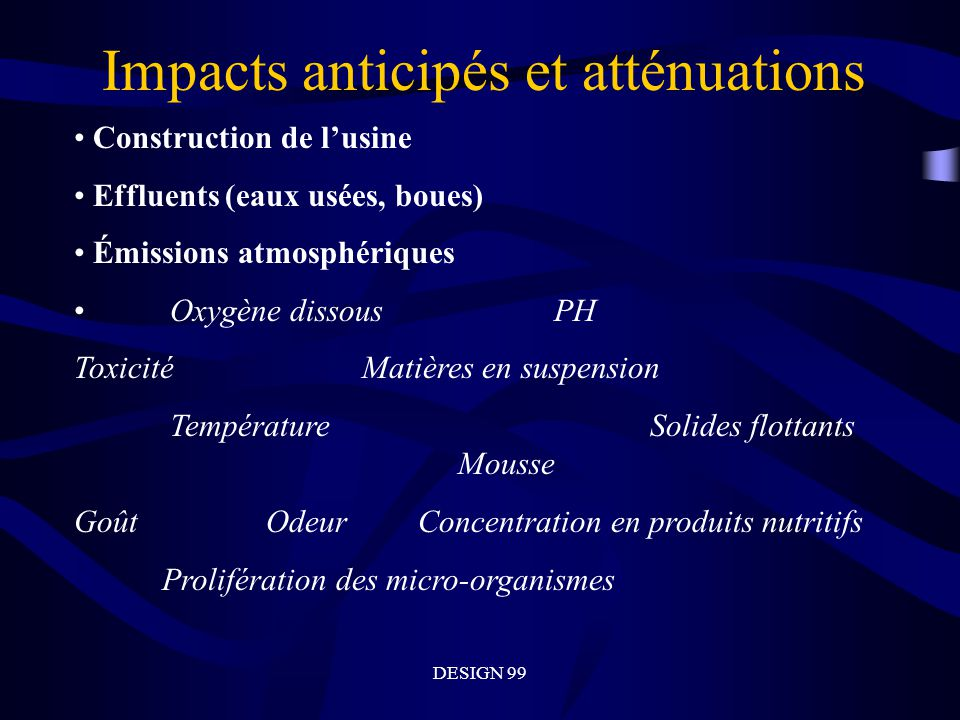 Impacts anticipés et atténuations