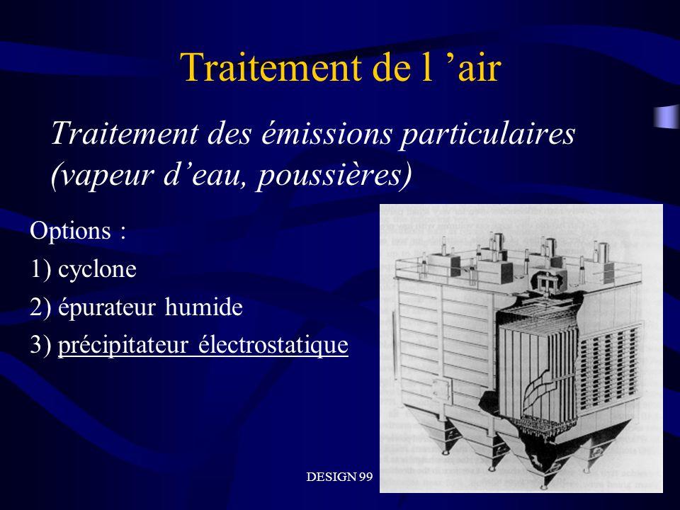 Traitement de l 'air Traitement des émissions particulaires (vapeur d'eau, poussières) Options : 1) cyclone.