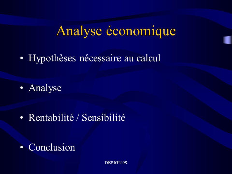 Analyse économique Hypothèses nécessaire au calcul Analyse