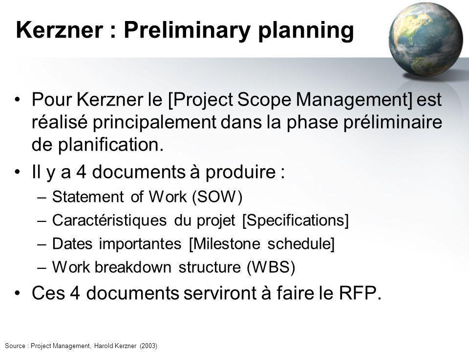 Kerzner : Preliminary planning