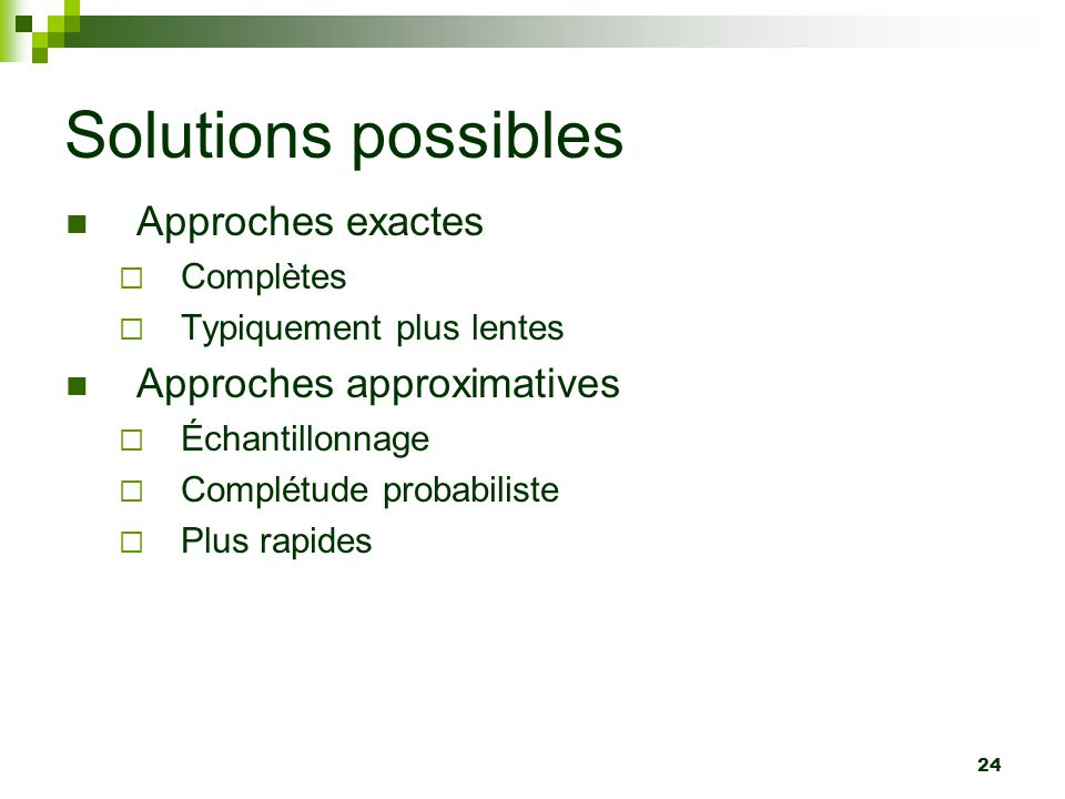 Solutions possibles Approches exactes Approches approximatives