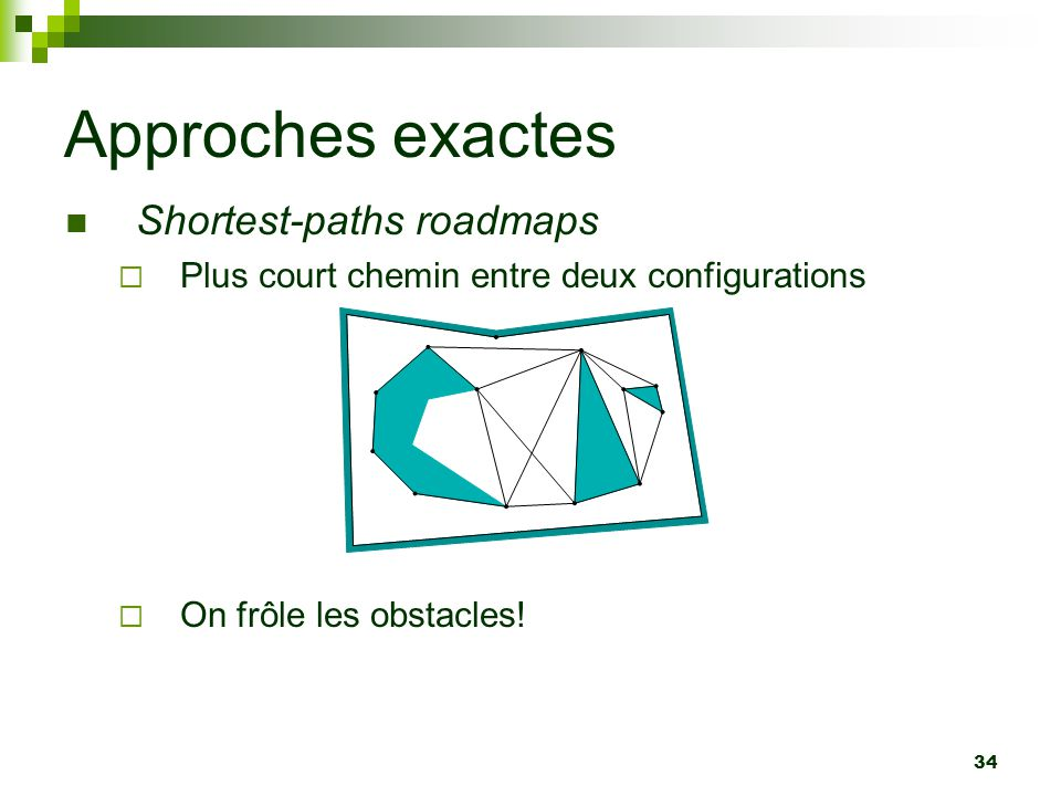 Approches exactes Shortest-paths roadmaps