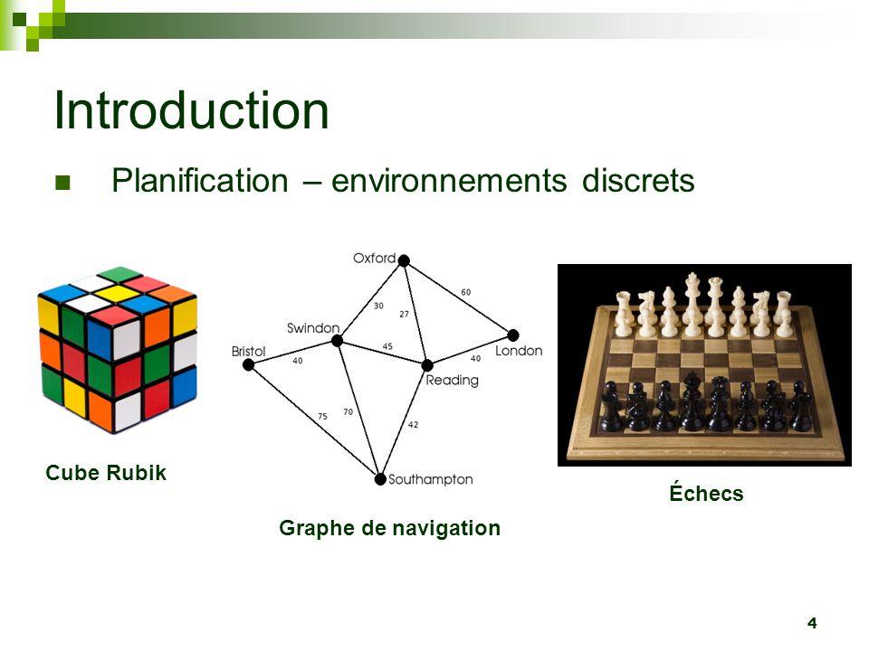 Introduction Planification – environnements discrets Cube Rubik Échecs