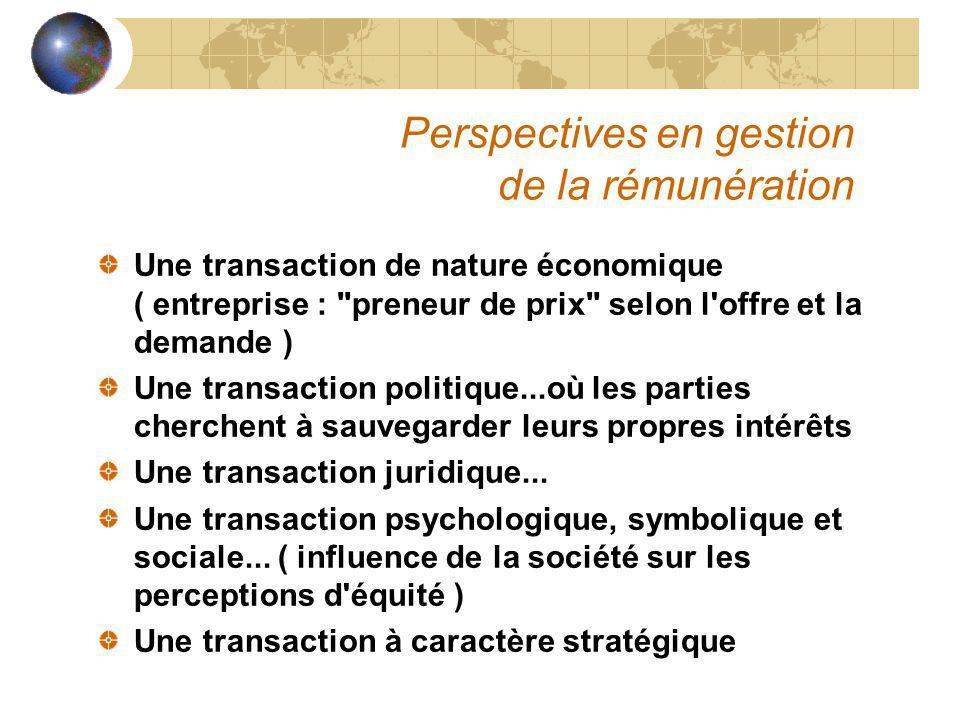 Perspectives en gestion de la rémunération