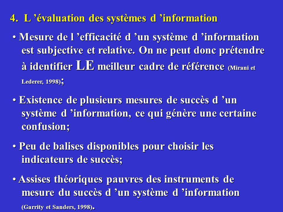 4. L 'évaluation des systèmes d 'information