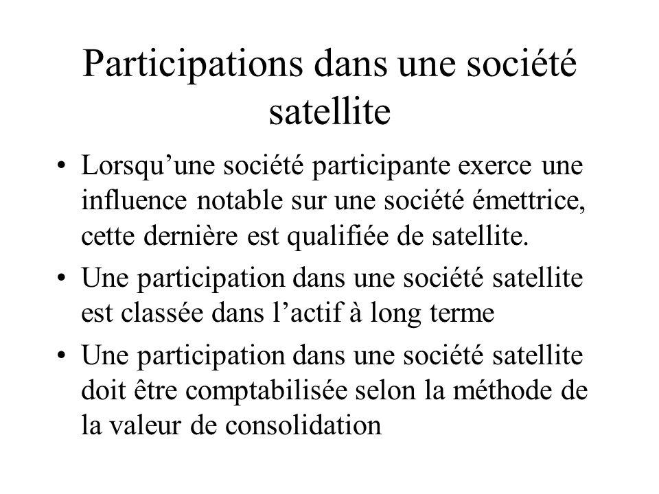 Participations dans une société satellite
