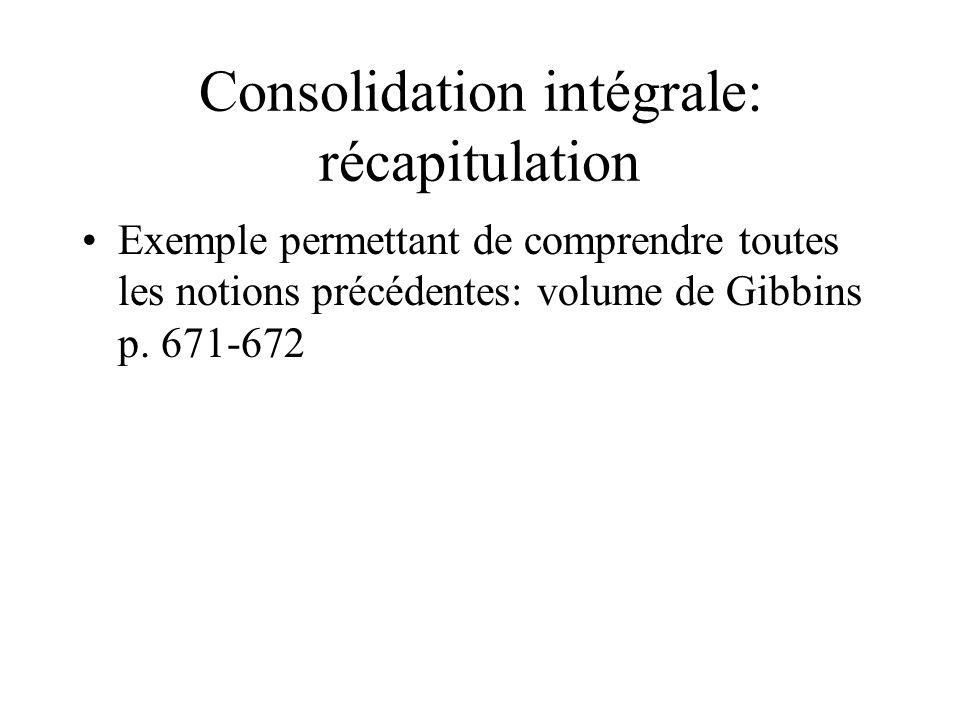Consolidation intégrale: récapitulation