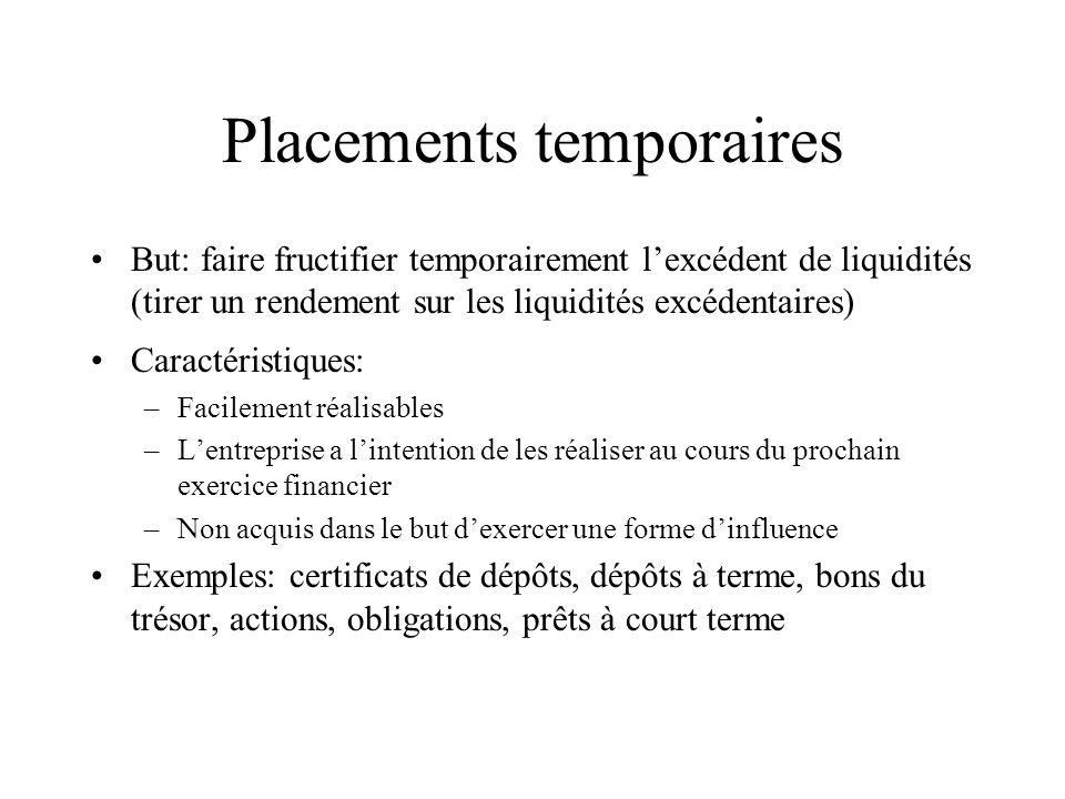 Placements temporaires