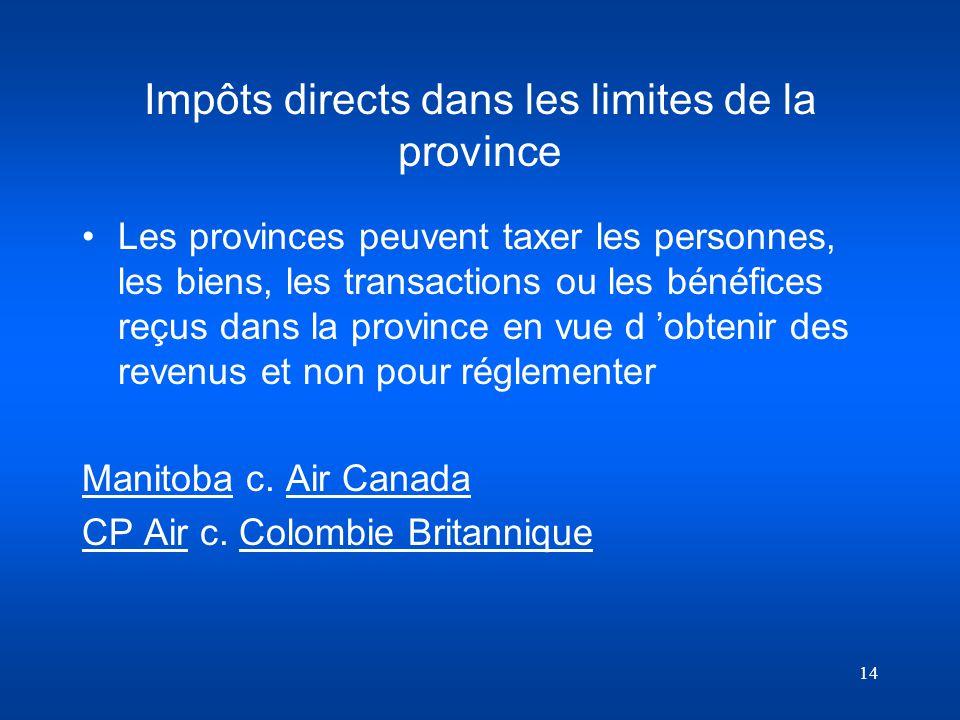 Impôts directs dans les limites de la province
