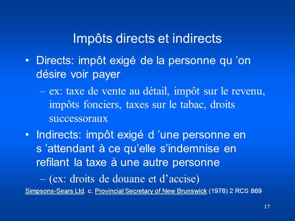 Impôts directs et indirects