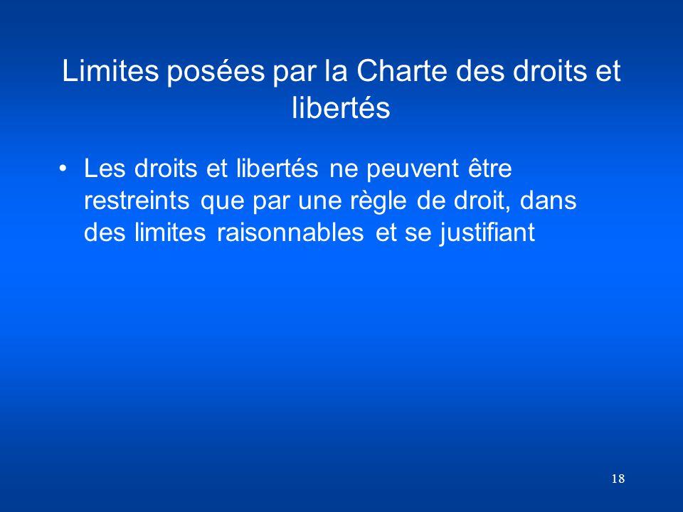 Limites posées par la Charte des droits et libertés