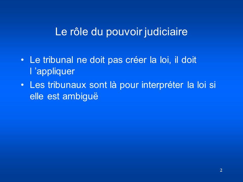 Le rôle du pouvoir judiciaire