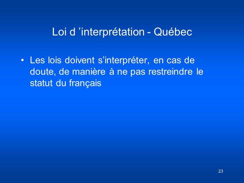 Loi d 'interprétation - Québec