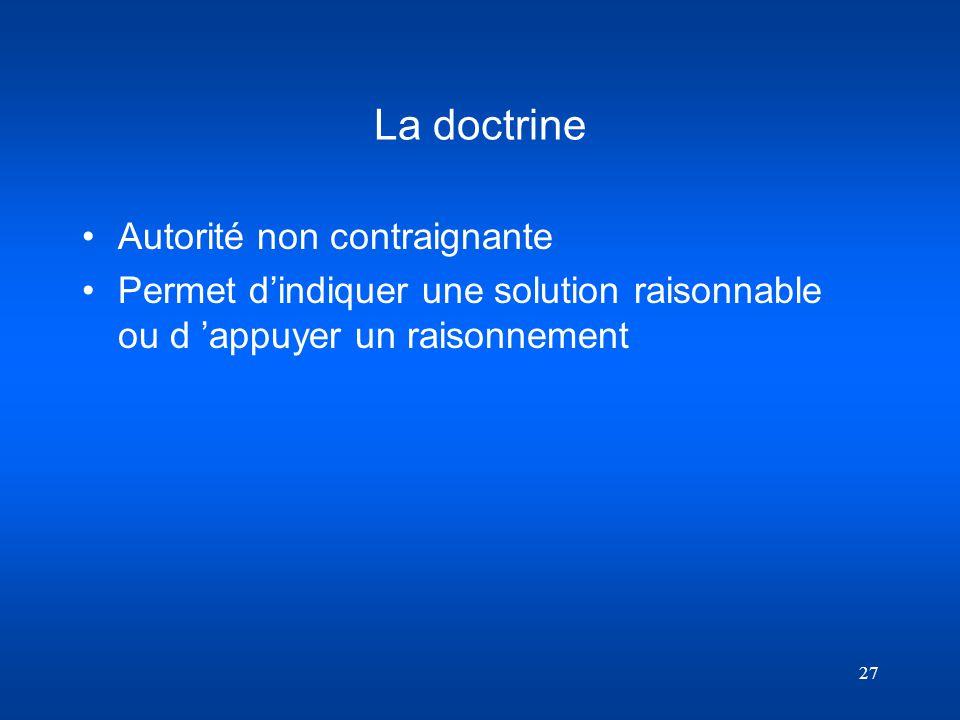 La doctrine Autorité non contraignante