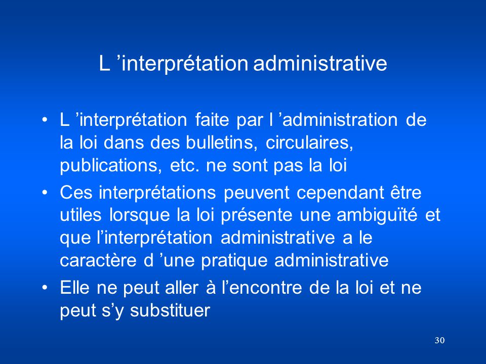 L 'interprétation administrative