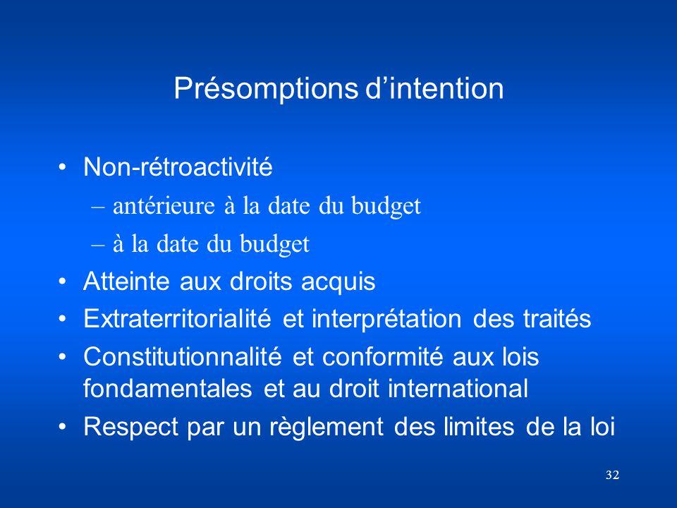 Présomptions d'intention