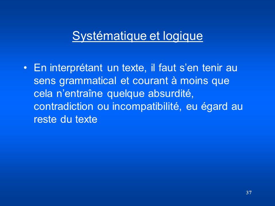 Systématique et logique
